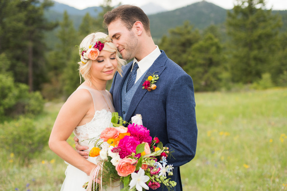 Flowers by Lace and Lilies, bright, bold and colorful summer mountain wedding - peonies, garden rose, ranunculus - flower crown/halo, boutonniere and bridal bouquet