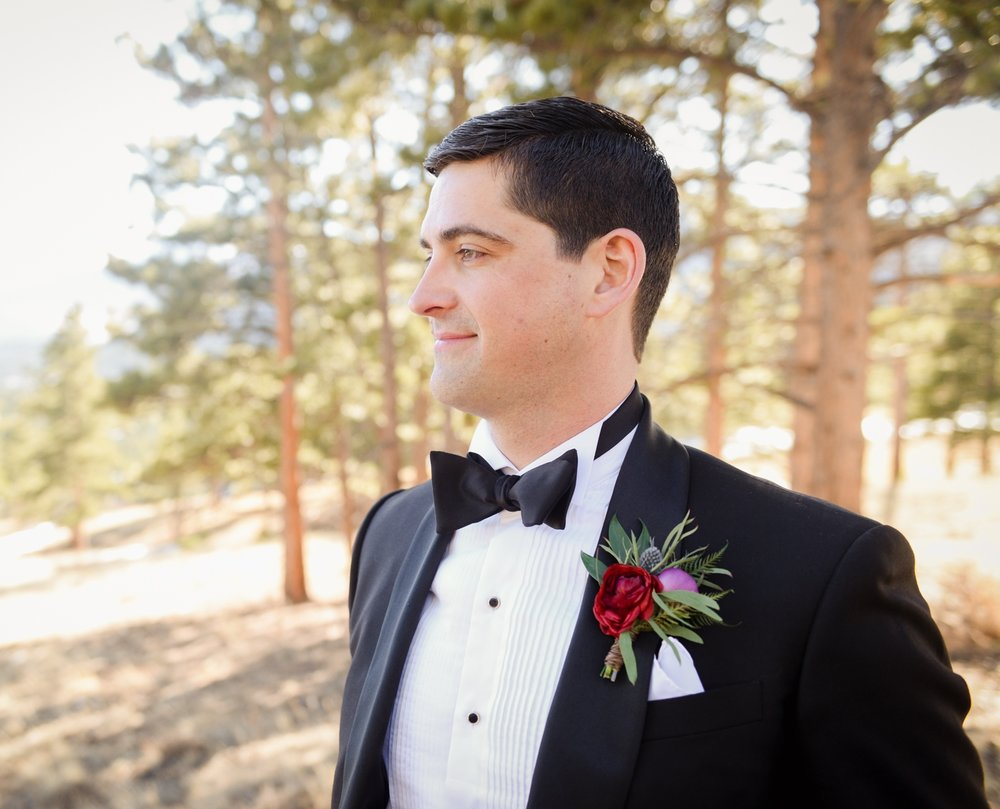 Flowers by Lace and Lilies, estes park wedding - black tie formal groom - burgundy red ranunculus, thistle and eucalyptus boutonniere