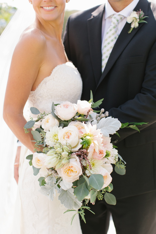 Flowers by Lace and Lilies. Bouquet and Boutonniere / Steamboat Springs, CO - White, Ivory, Blush, Gray, Dusty Green, Sage Green. Soft, Romantic, Timeless, Classic, Elegant. Bride, Groom, Marriage. Wedding. Calcynia, Blushing Bride, Eucalyptus, Silver Brunia Berry / Berries, Dusty Miller, Garden Rose, Dahlia