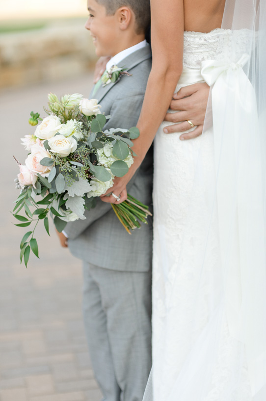 Flowers by Lace and Lilies. Bouquet and Boutonniere / Steamboat Springs, CO - White, Ivory, Blush, Gray, Dusty Green, Sage Green. Soft, Romantic, Timeless, Classic, Elegant. Bride, Best Man, Family. Calcynia, Blushing Bride, Eucalyptus, Silver Brunia Berry / Berries, Dusty Miller, Garden Rose, Dahlia