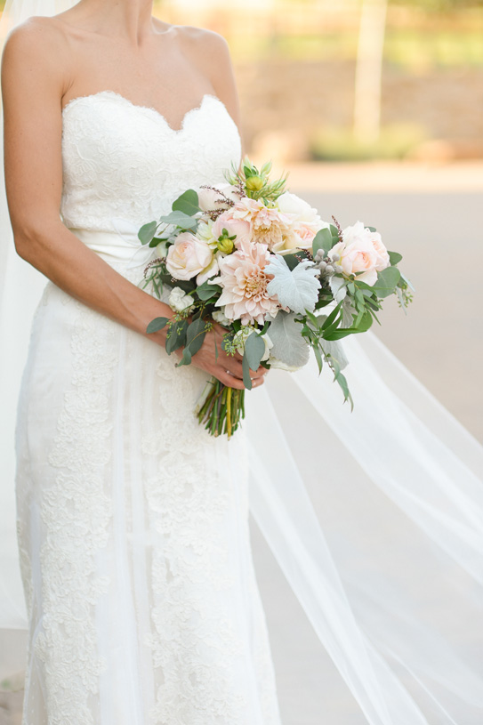 Flowers by Lace and Lilies. Bridal Bouquet / Steamboat Springs, CO - White, Ivory, Blush, Gray, Dusty Green, Sage Green. Soft, Romantic, Timeless, Classic, Elegant. Bride, Marriage, Wedding. Calcynia, Blushing Bride, Eucalyptus, Silver Brunia Berry / Berries, Dusty Miller, Garden Rose, Dahlia