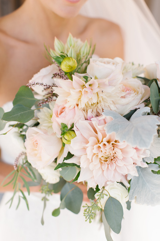 Flowers by Lace and Lilies. Bridal Bouquet / Steamboat Springs, CO - White, Ivory, Blush, Gray, Dusty Green, Sage Green. Soft, Romantic, Timeless, Classic, Elegant. Bride, Marriage, Wedding. Calcynia, Blushing Bride, Eucalyptus, Silver Brunia Berry / Berries, Dusty Miller, Garden Rose, Dahlia, Cafe au Lait Dahlia