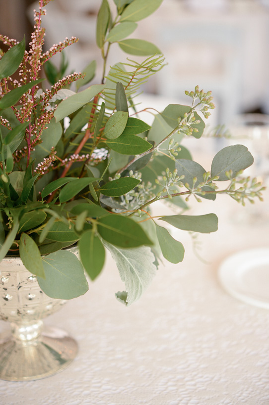 Flowers by Lace and Lilies. Reception / Steamboat Springs, CO - White, Ivory, Blush, Gray, Dusty Green, Sage Green. Soft, Romantic, Timeless, Classic, Elegant. Cocktail Hour, Centerpiece, Marriage, Wedding. Calcynia, Eucalyptus, Dusty Miller, Greenery, Texture, Green