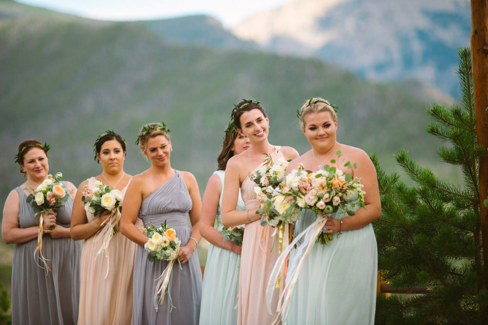 Flowers by Lace and Lilies / Colorado wedding florist - peach, sage, green, white, ivory, blush - natural, organic, romantic, whimsical - Fort Collins, Grand Lake, Destination, Travel - mountain wedding, bridal bouquet, bridesmaids, maid of honor, hanging ribbon, ceremony