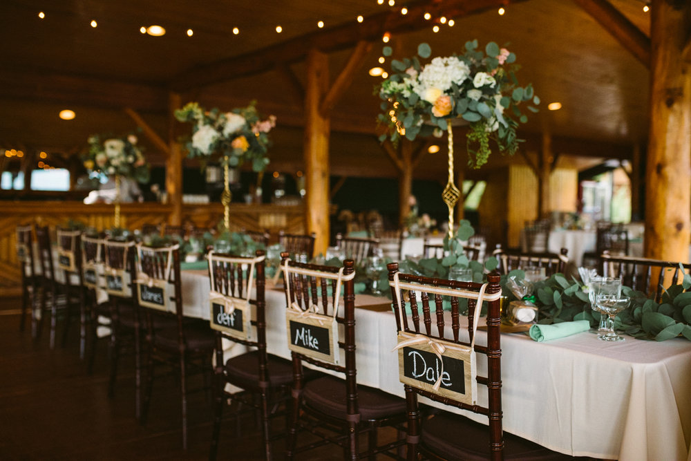 Flowers by Lace and Lilies / Colorado wedding florist - peach, sage, green, white, ivory, blush - natural, organic, romantic, whimsical - Fort Collins, Grand Lake, Destination, Travel - silver dollar eucalyptus garland, tall centerpieces, reception, party, mountain wedding, rustic