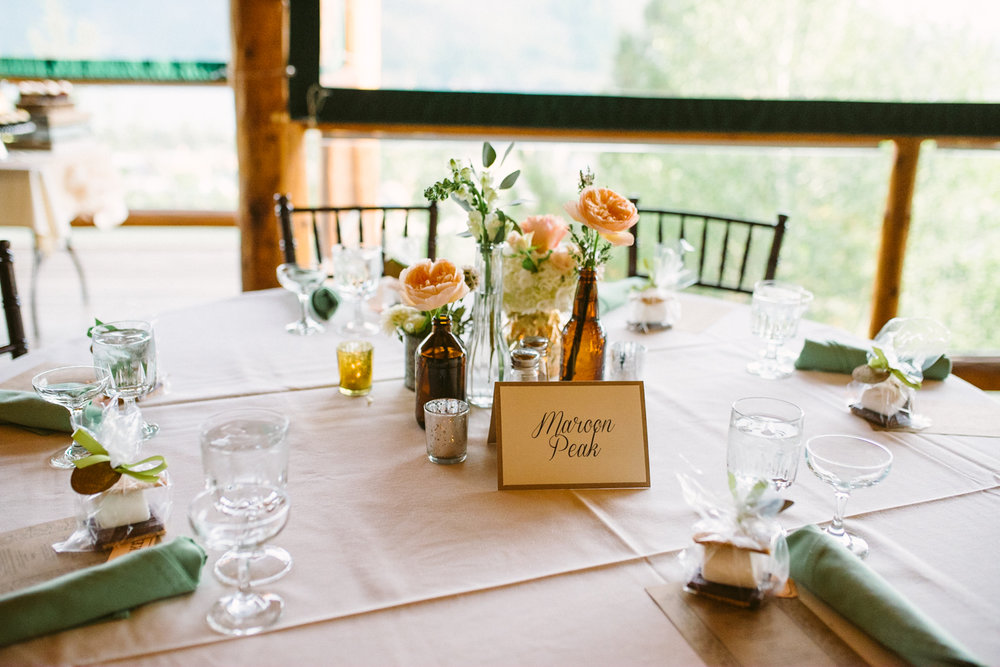 Flowers by Lace and Lilies / Colorado wedding florist - peach, sage, green, white, ivory, blush - natural, organic, romantic, whimsical - Fort Collins, Grand Lake, Destination, Travel - mountain wedding, centerpieces, bud vases, bottles, eclectic grouping, reception