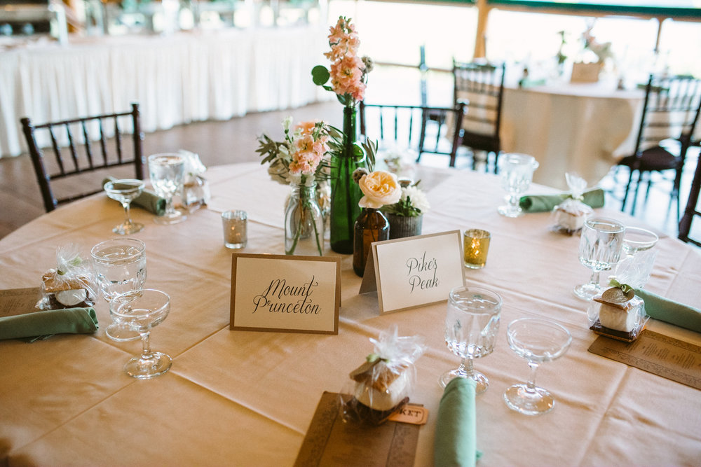 Flowers by Lace and Lilies / Colorado wedding florist - peach, sage, green, white, ivory, blush - natural, organic, romantic, whimsical - Fort Collins, Grand Lake, Destination, Travel - mountain wedding, bud vases, mixed vases, bottles, centerpiece