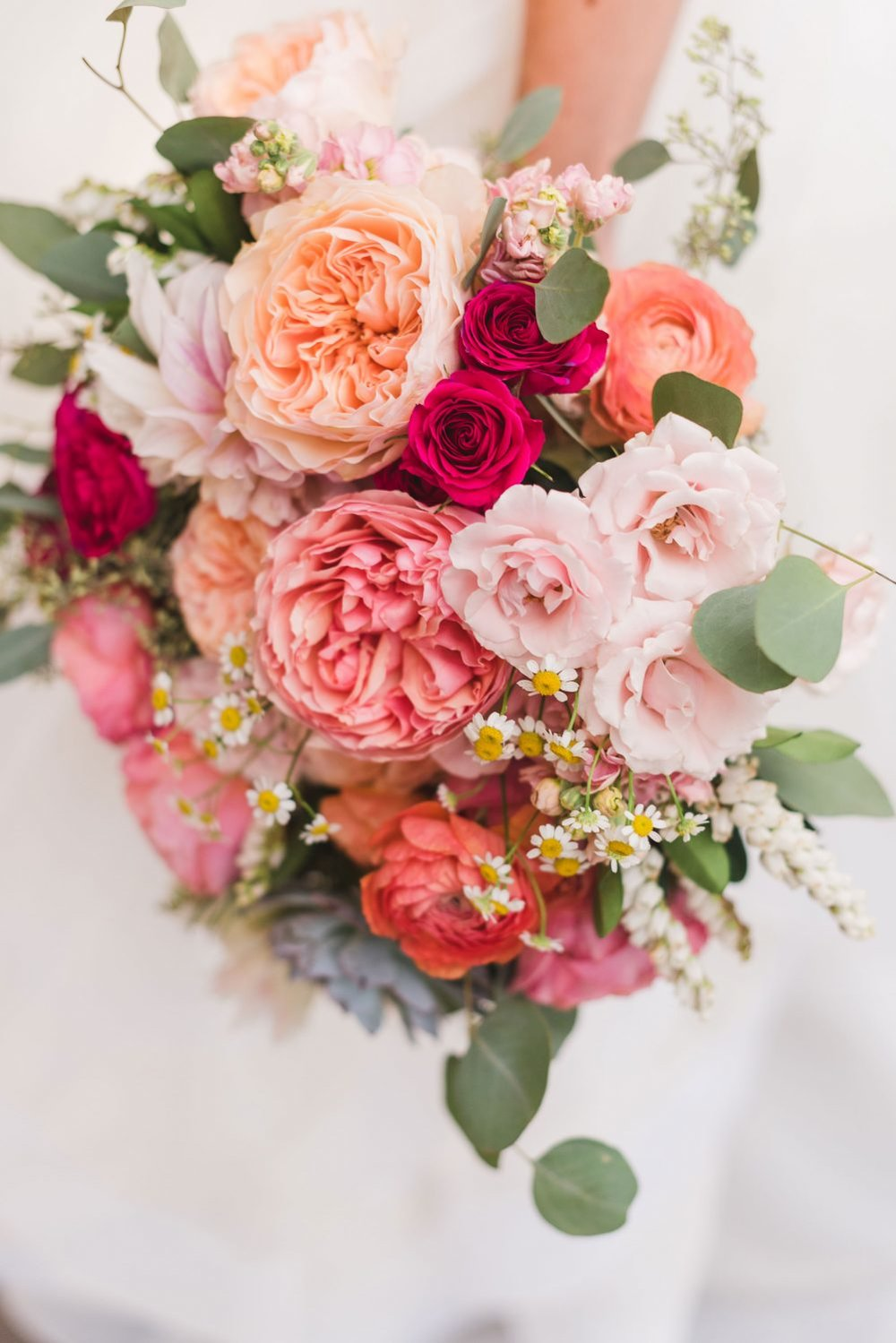 Flowers by Lace and Lilies, Garden Rose, Ranunculus, Dahlia, Pieris, Eucalyptus - colorful summer bouquet