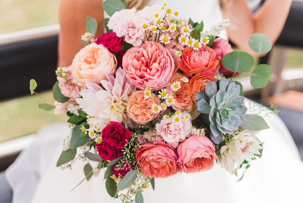 Flowers by Lace and Lilies, summer bold and colorful bouquet, Garden Rose, Dahlia, Succulent, Ranunculus