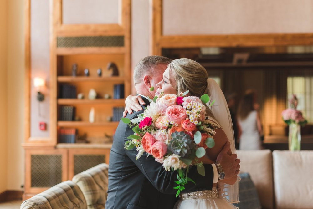 Flowers by Lace and Lilies, father / daughter first look, summer bouquet, bright and bold pinks and peach
