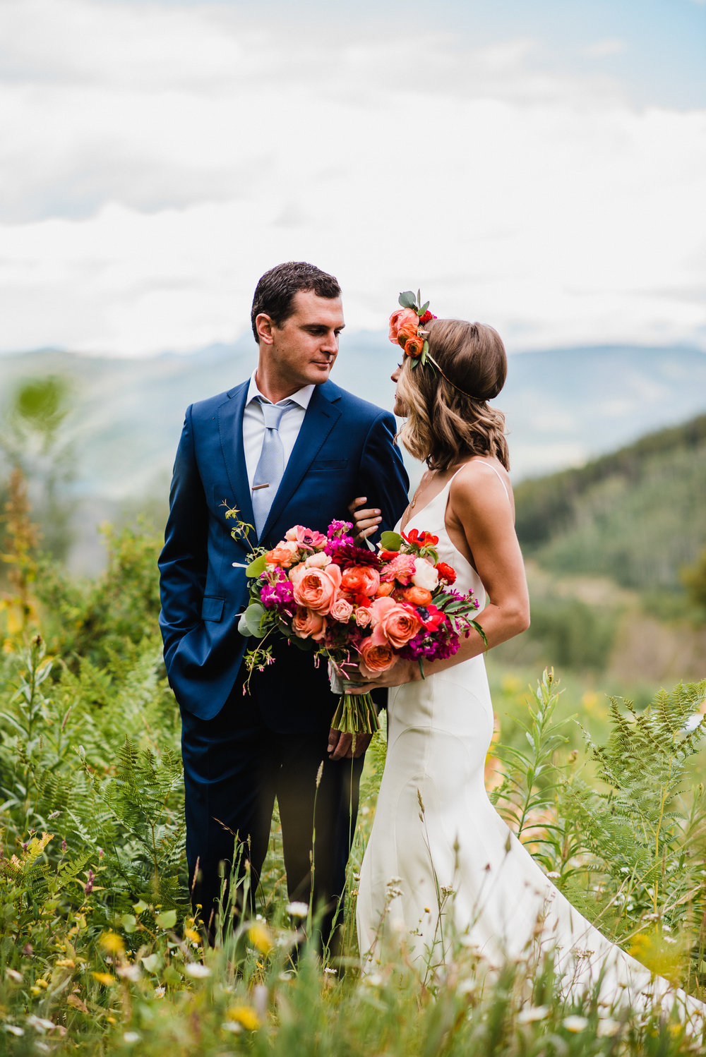 Flowers by Lace and Lilies, mountain summer wedding, bold and bright bouquet and flower crown. Peonies, Garden Rose, Ranunculus and Anemone bouquet