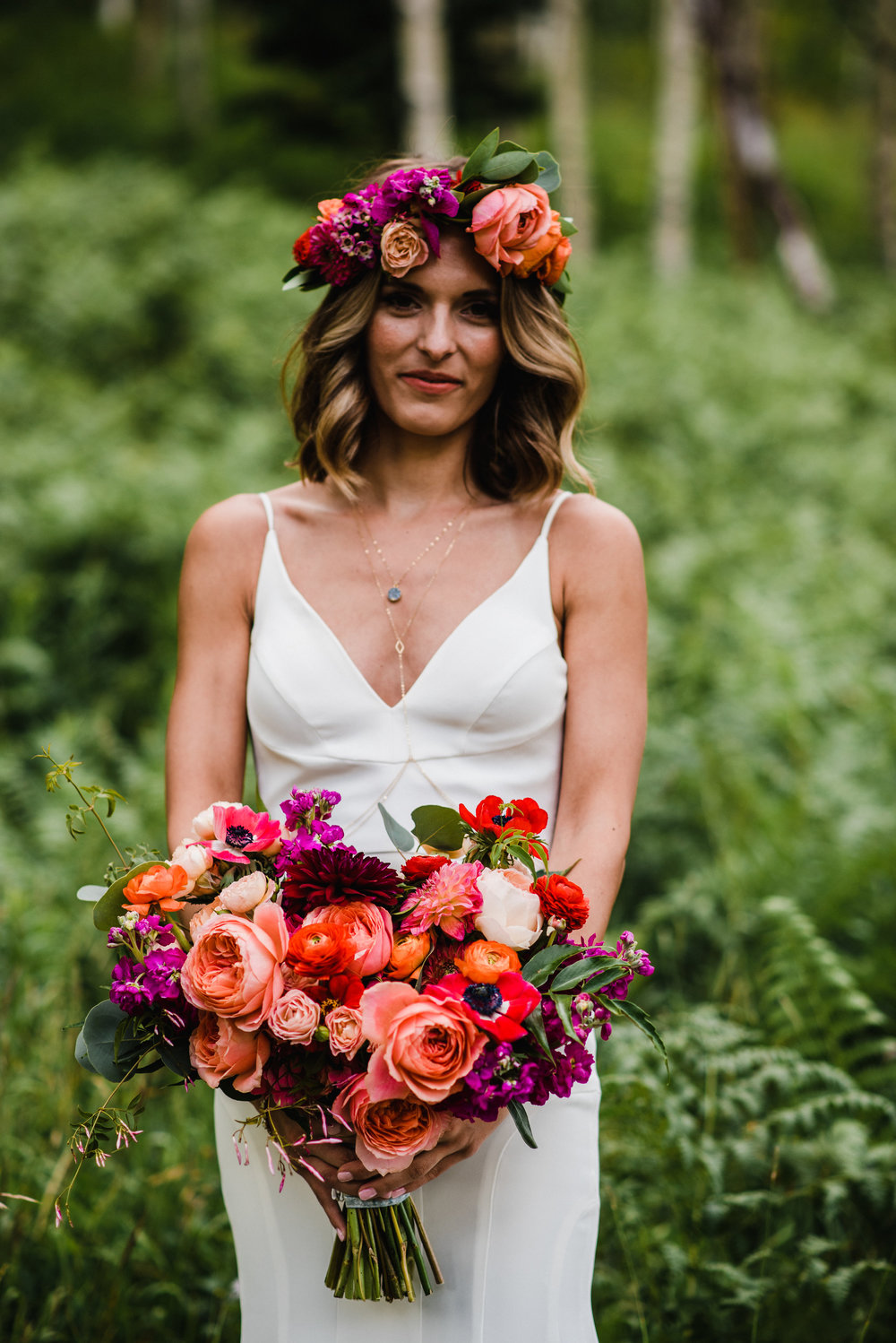 Flowers by Lace and Lilies, Red, Coral, Orange and Peach bouquet and flower crown - summer wedding in the mountains
