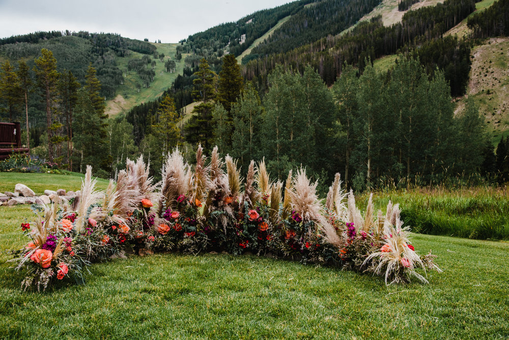 Flowers by Lace and Lilies, ceremony floral circle, wedding altar, mountain outdoor wedding