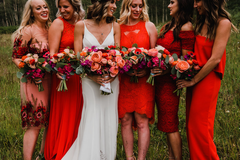 Flowers by Lace and Lilies, red bridesmaid dresses, summer mountain wedding, bridal party