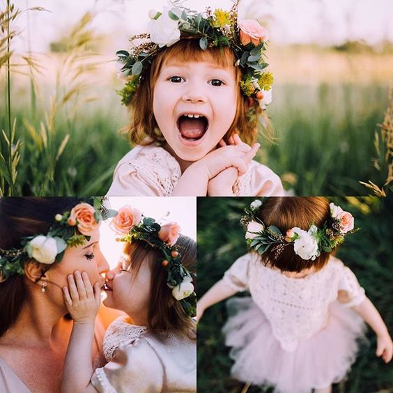 Flowers by Lace and Lilies flower crowns, flower girl crown, hair flowers, flower girls, bride and flower girl crowns, matching, spray rose, foliage,