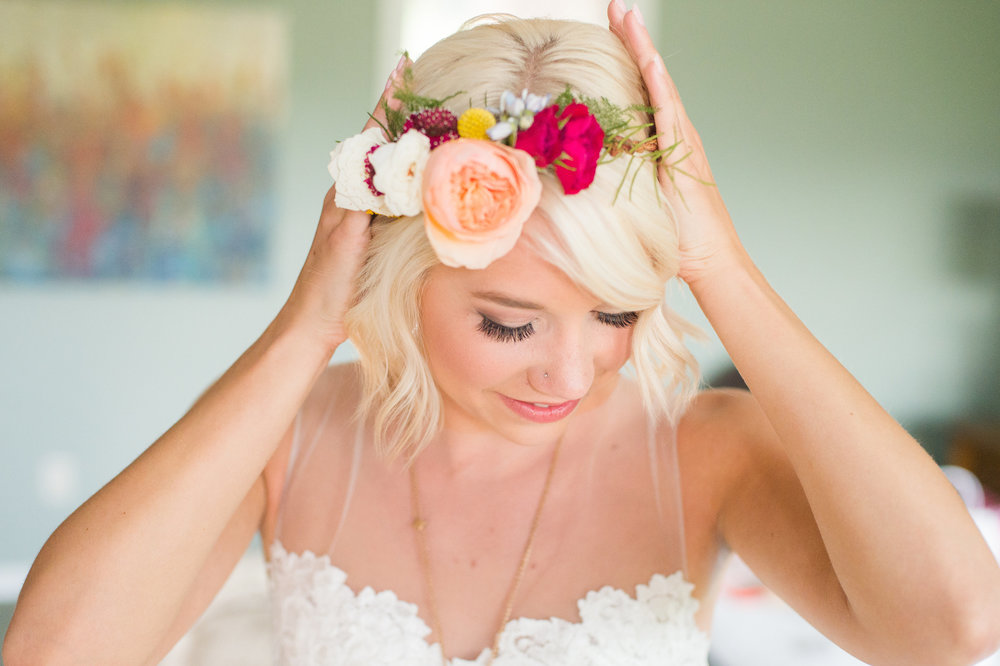 Flowers by Lace and Lilies, colorful hair crown, hair flowers, summer wedding, colorado wedding