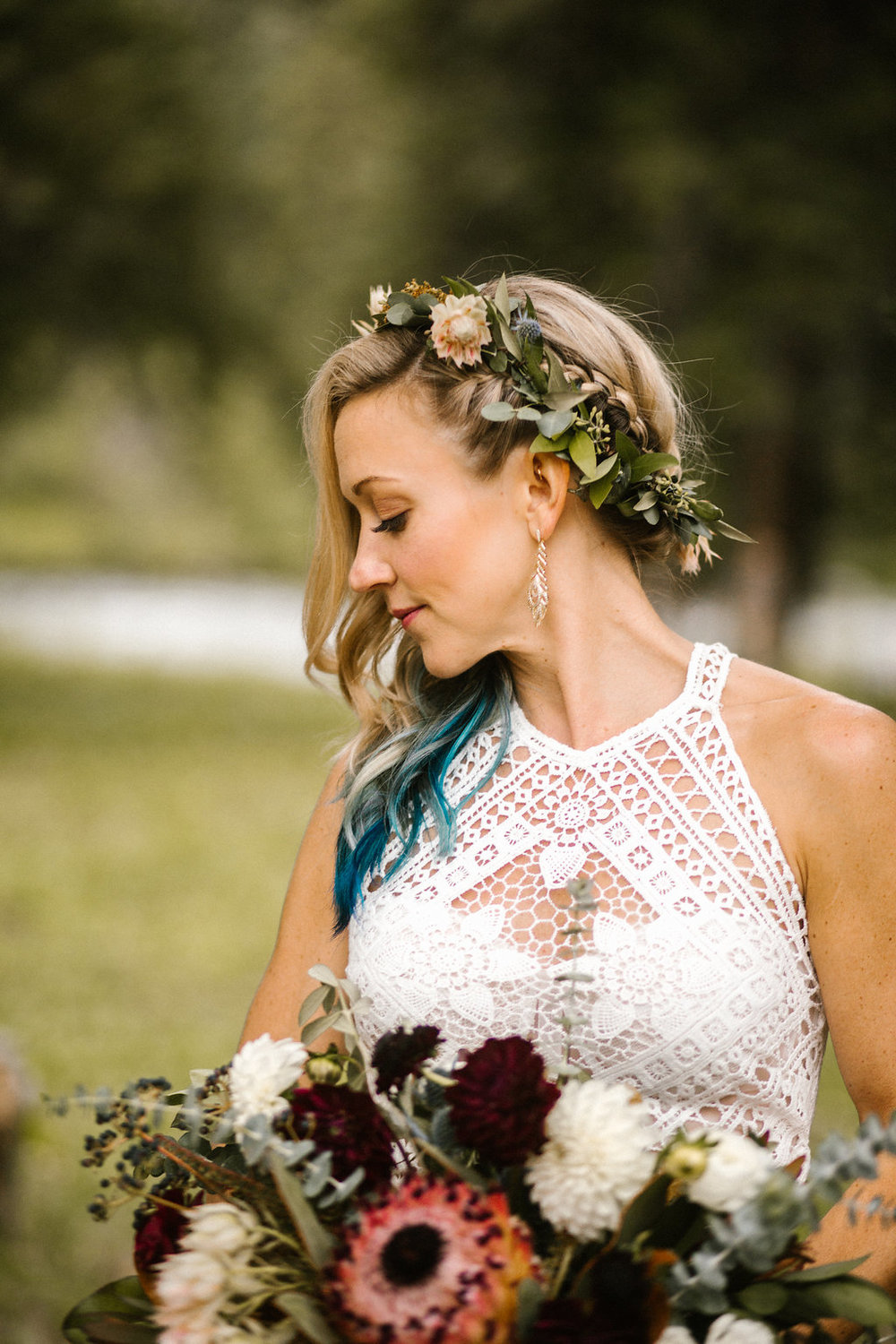 Flowers by Lace and Lilies, flower crown, burgundy bridal bouquet, thistle, blushing bride protea, blue hair, something blue, colorado wedding, summer wedding