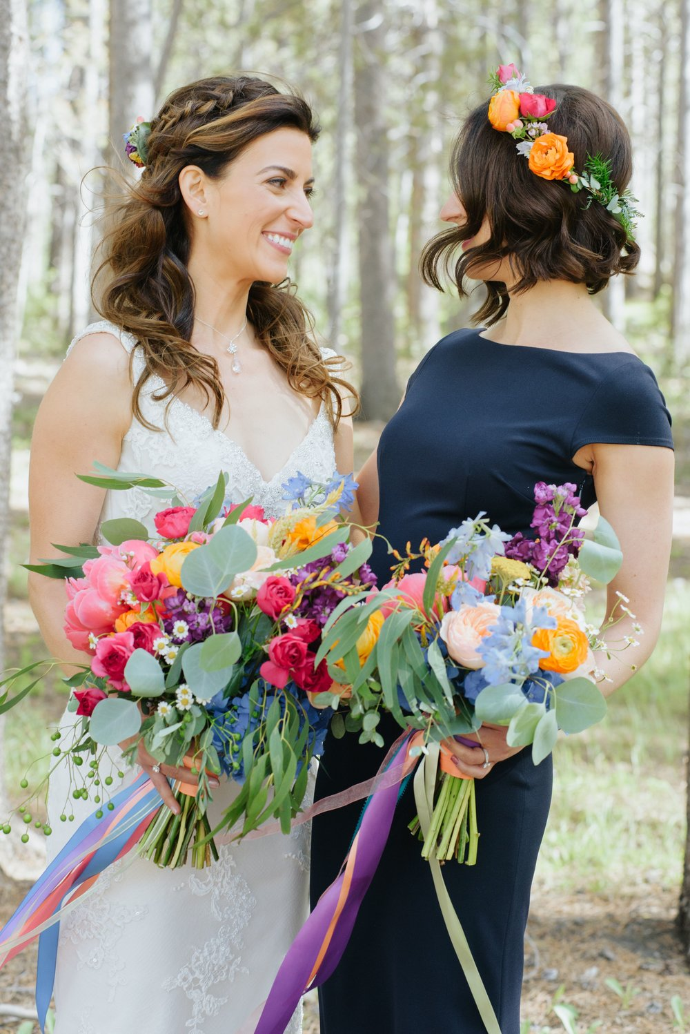 Flowers by Lace and Lilies flower crown,  hair flowers, bridesmaid hair flowers, navy dresses, colorful bridal bouquet, summer wedding, mountain wedding, colorado wedding