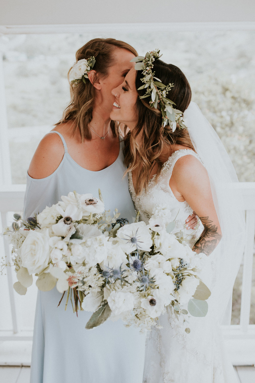 Flowers by Lace and Lilies, hair crown, green and white, garden rose, thistle, flower crown, foliage, bride hair flowers, bridesmaid flowers, summer wedding, colorado wedding, bridesmaid flowers, dusty blue dresses, flower combs, white and green bridal bouquet