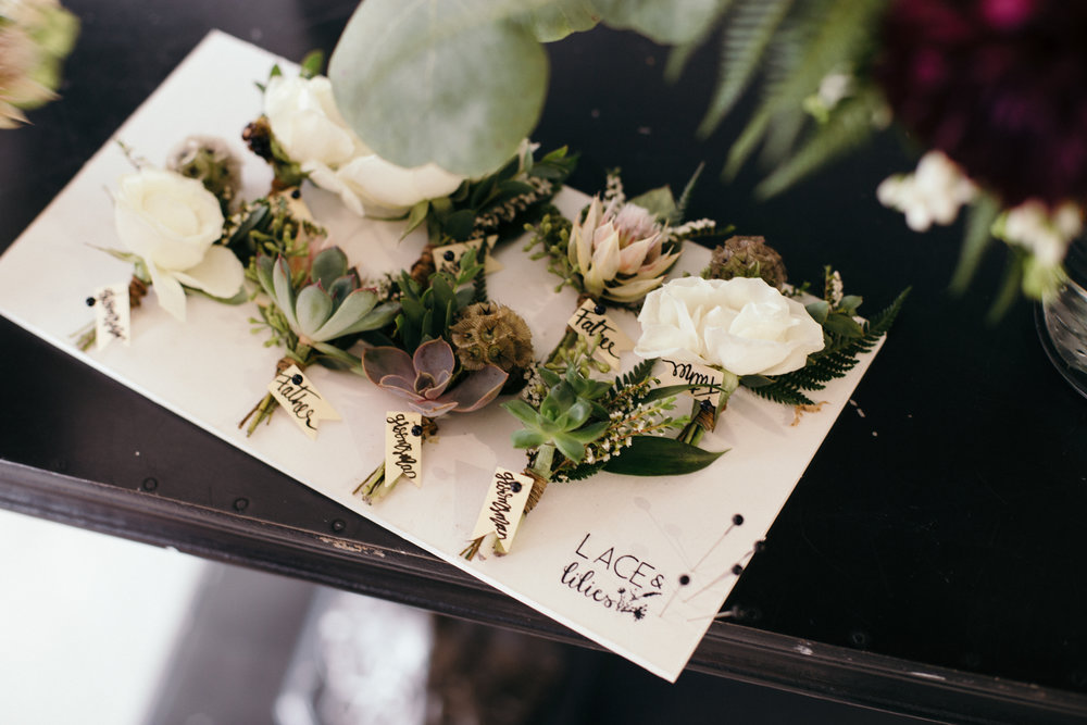 Flowers by Lace and Lilies, wedding flowers, bridal bouquet, blush, mauve, succulents, boutonniere, succulent boutonniere, garden bouquet, grey suit