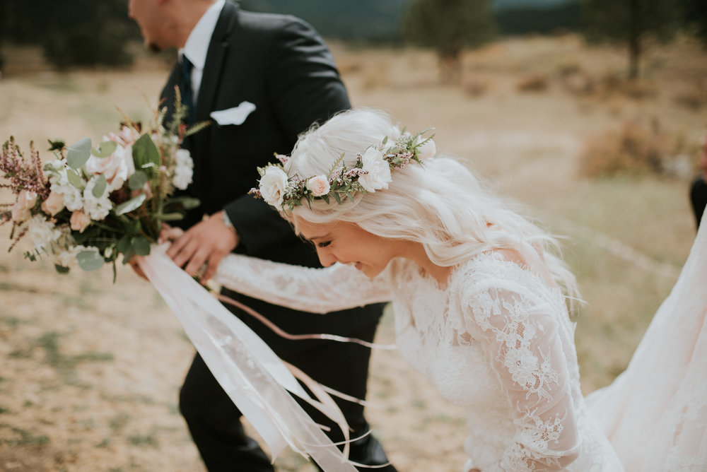 Flowers by Lace and Lilies, Estes Park Wedding, Colorado Wedding, Twin Owls Steakhouse, Black Canyon Inn, bridal bouquet, hair flower crown, blush flowers, king protea, long sleeved dress, burgundy flowers, colorado wedding