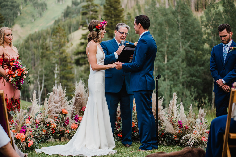 Flowers by Lace and Lilies, pampas grass circle, coral wedding, mountain wedding, flower crown, colorado wedding, circle flowers