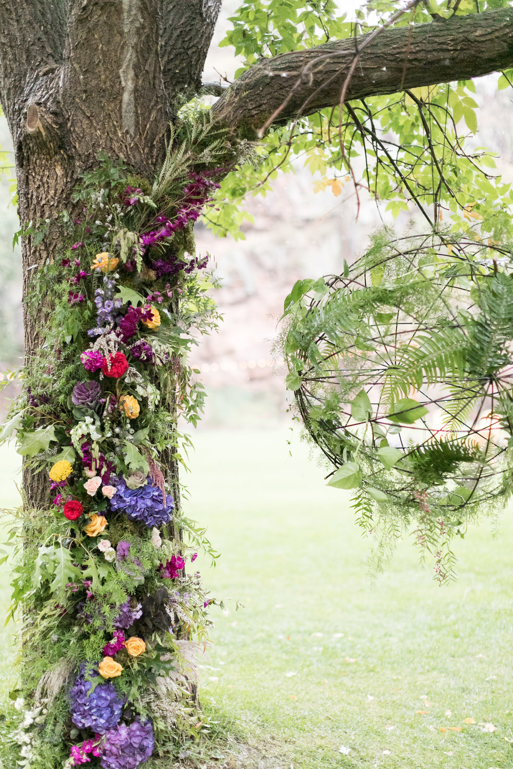 Flowers by Lace and Lilies, tree flowers, jewel toned wedding, boulder wedding, colorado wedding, mountain wedding, wedding flowers, hanging flowers, hanging greenery