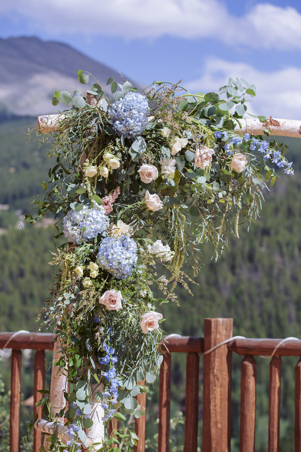 Flowers by Lace and Lilies, arch decor, wedding flowers, birch arch, colorado wedding, breckenridge wedding, mountain wedding, colorado wedding