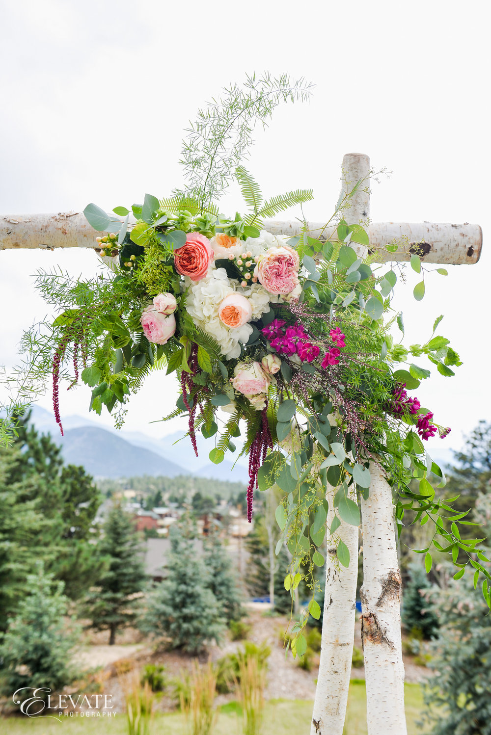 Flowers by Lace and Lilies, ceremony flowers, denver wedding, arch flowers, colorful bloom, birch arch, ceremony decor