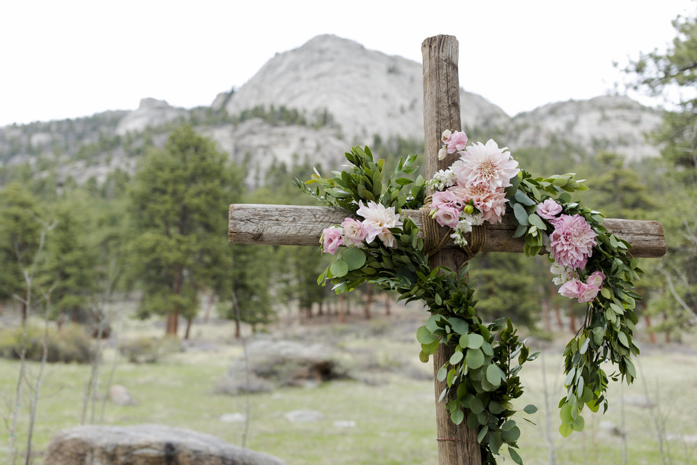 Flowers by Lace and Lilies, ceremony flowers, denver wedding, arch flowers, colorful blooms, cross flowers, pink flowers, della terra, mountain wedding, estes park wedding, ceremony decor