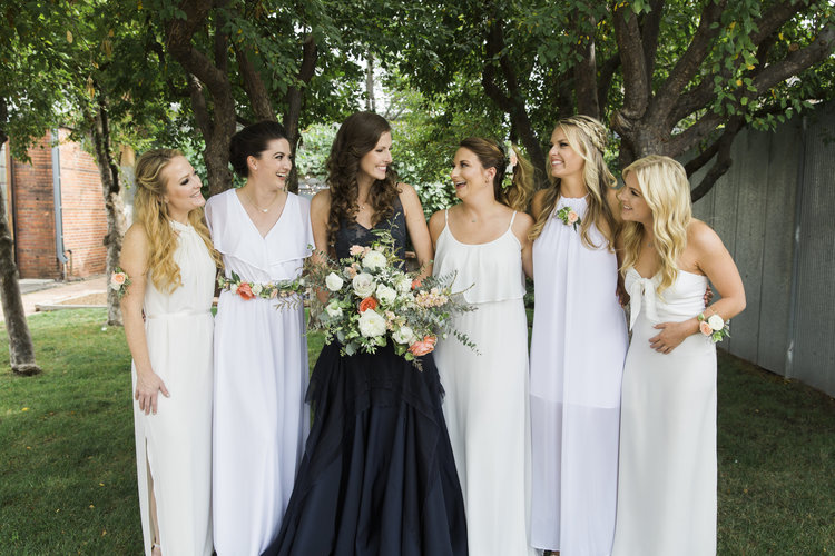 50b5dc0dc191 Flowers by Lace and Lilies, bridesmaids, greenery, peach wedding, hair  necklace,