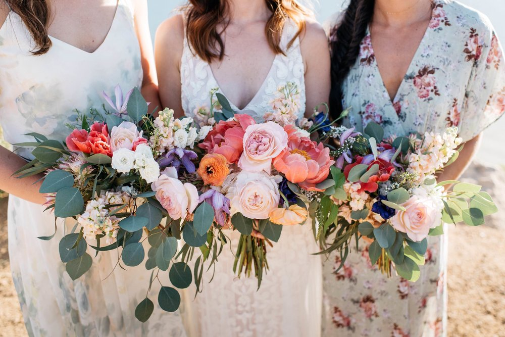 Flowers by lace and lilies, floral dresses, bridesmaid bouquets, bridal bouquet, wedding flowers, colorful flowers