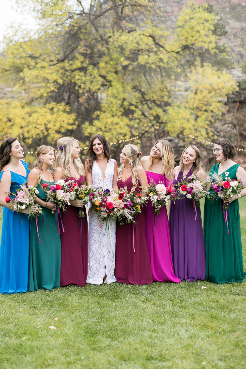 Flowers by lace and lilies, bridesmaid dresses, jewel tones, bridal party, bridal bouquet, bride tribe