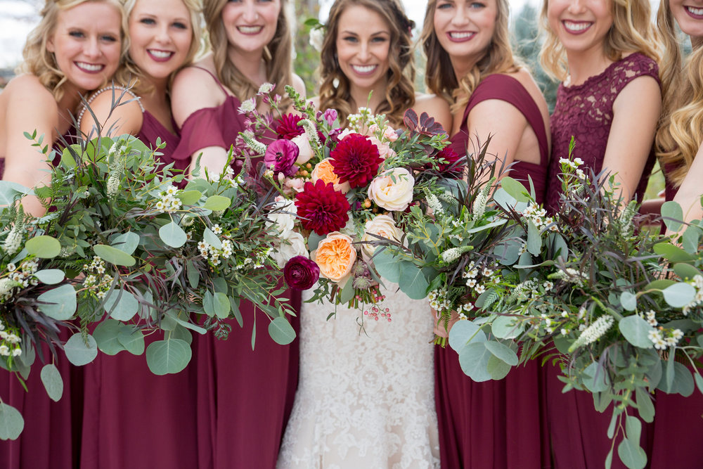 Flowers by Lace and Lilies, colorado wedding, bridal party, wedding glowers, blush and burgundy, colorful. neutral gowns, colorado wedding