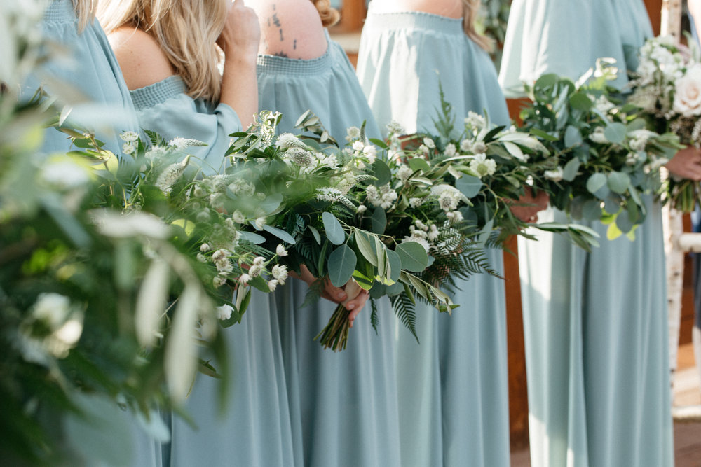 Flowers by Lace and Lilies, wedding flowers, greenery wedding, foliage, bridesmaid bouquets, bridal bouquet, colorado wedding, mountain wedding