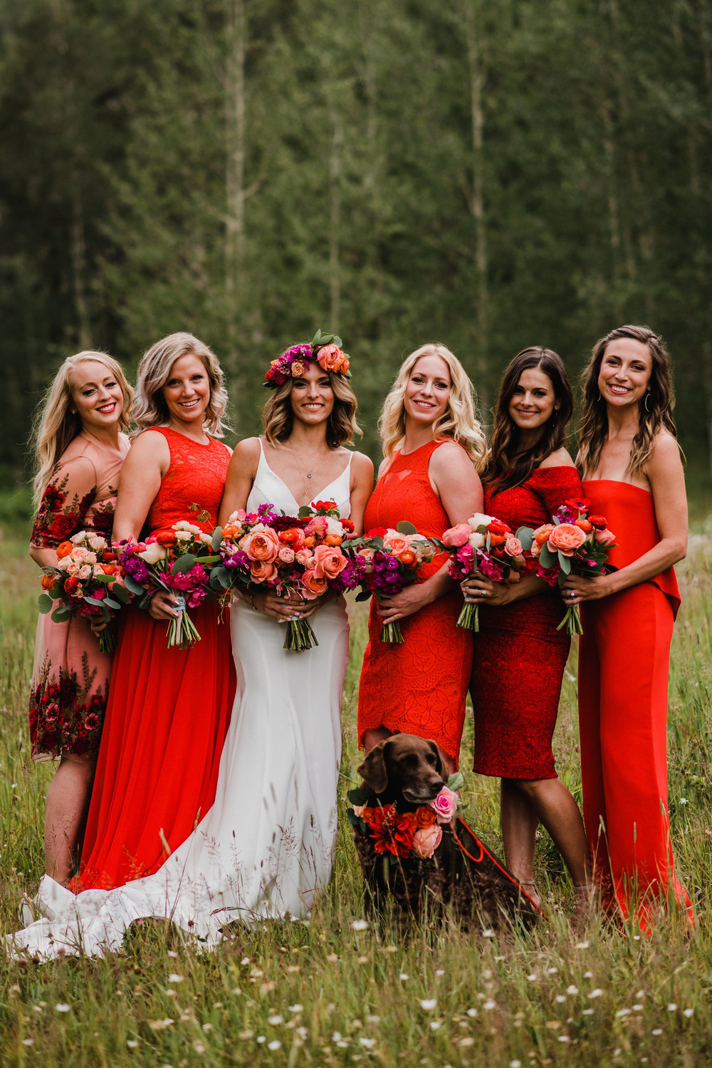 Flowers by Lace and Lilies, colorful bouquets, bridesmaid dresses, bridal bouquet, bridesmaid bouquets, colorado wedding, mountain wedding, coral wedding flowers, peach and yellow, blush and white, coral and red wedding, dog flowers, dog wreath