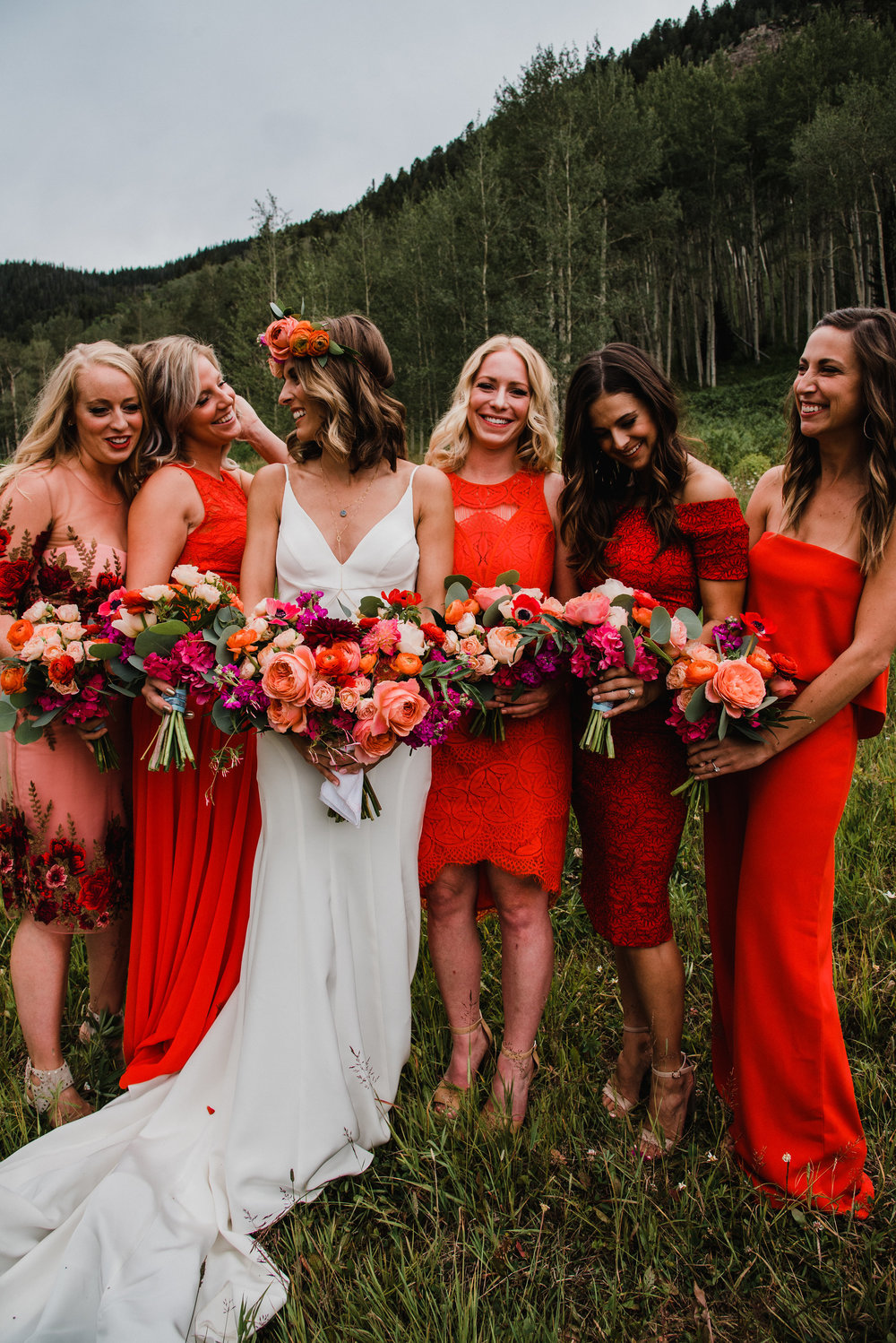 Flowers by Lace and Lilies, colorful wedding, coral and red wedding, mountain wedding, bridesmaid, colorful flowers