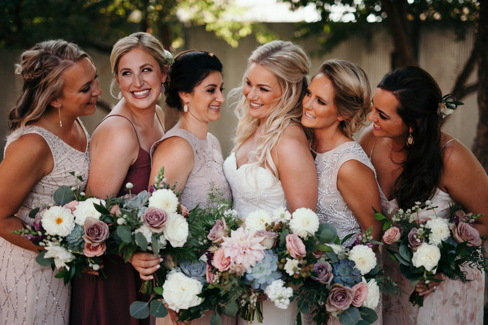 Flowers by Lace and Lilies, dusty wedding, dusty color palette, burgundy, navy, grey, bridal party, wedding flowers, flowers, bridal bouquet, mauve, dusty rose