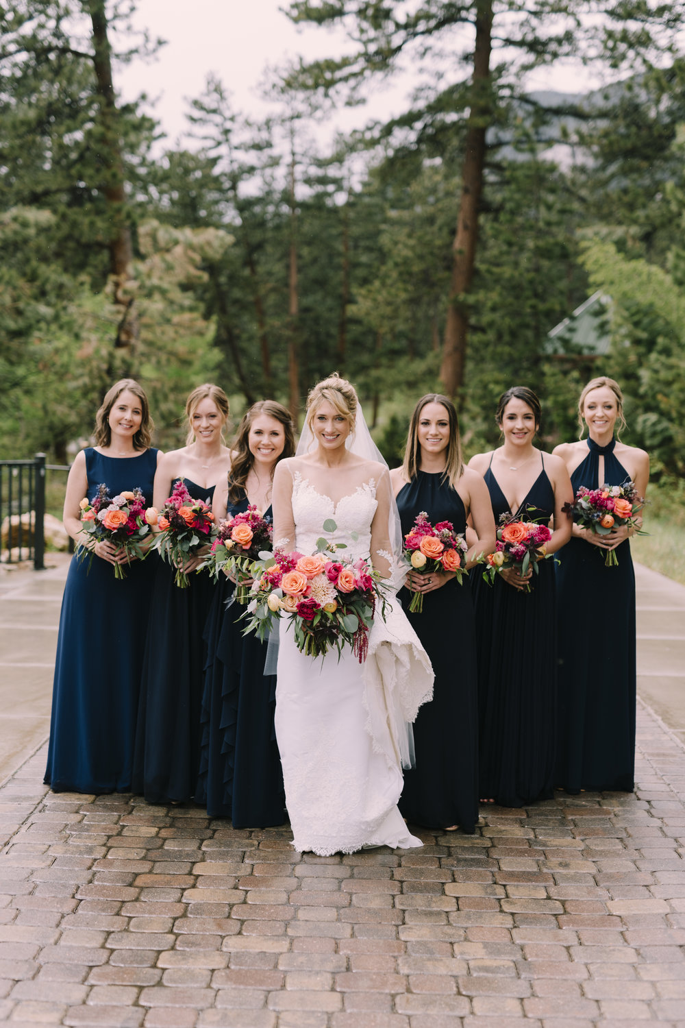 Flowers by Lace and Lilies, colorful color palette, burgundy, navy, grey, bridal party, wedding flowers, flowers, bridal bouquet, mauve, dusty rose, dark wedding dresses, black wedding dresses