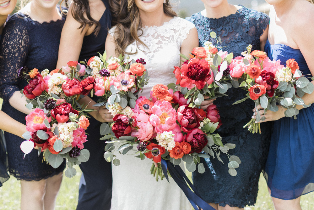 Flowers by Lace and Lilies, colorful bouquet, bridesmaid bouquet, red and coral wedding, greenery, navy bridesmaid dresses