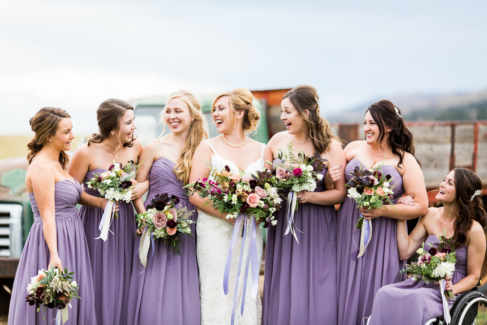 Flowers by Lace and Lilies, lavender wedding, wedding flowers, old truck photos, bridal bouquet, dusty mauve, dusty lavender, bridal party, purple bridesmaid gowns, wedding flowers