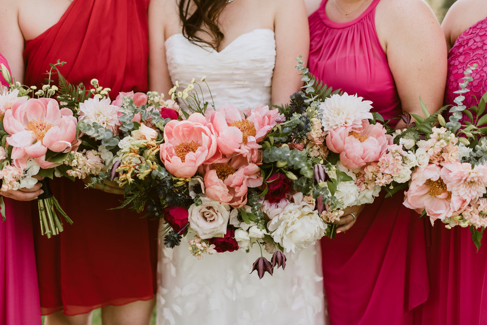 Flowers by Lace and Lilies, colorful wedding, wedding flowers, old truck photos, bridal bouquet, dusty mauve, dusty lavender, bridal party, pink bridesmaid gowns, wedding flowers