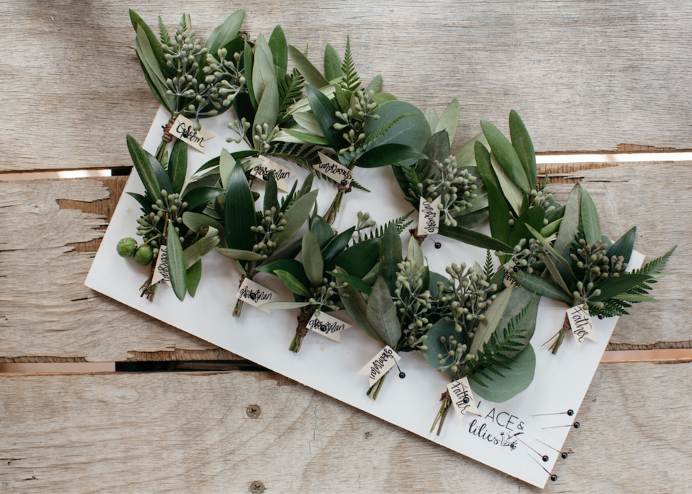 Flowers by Lace and Lilies, boutonnieres, greenery boutonnieres, foliage, textured boutonniere, colorado wedding, mountain wedding