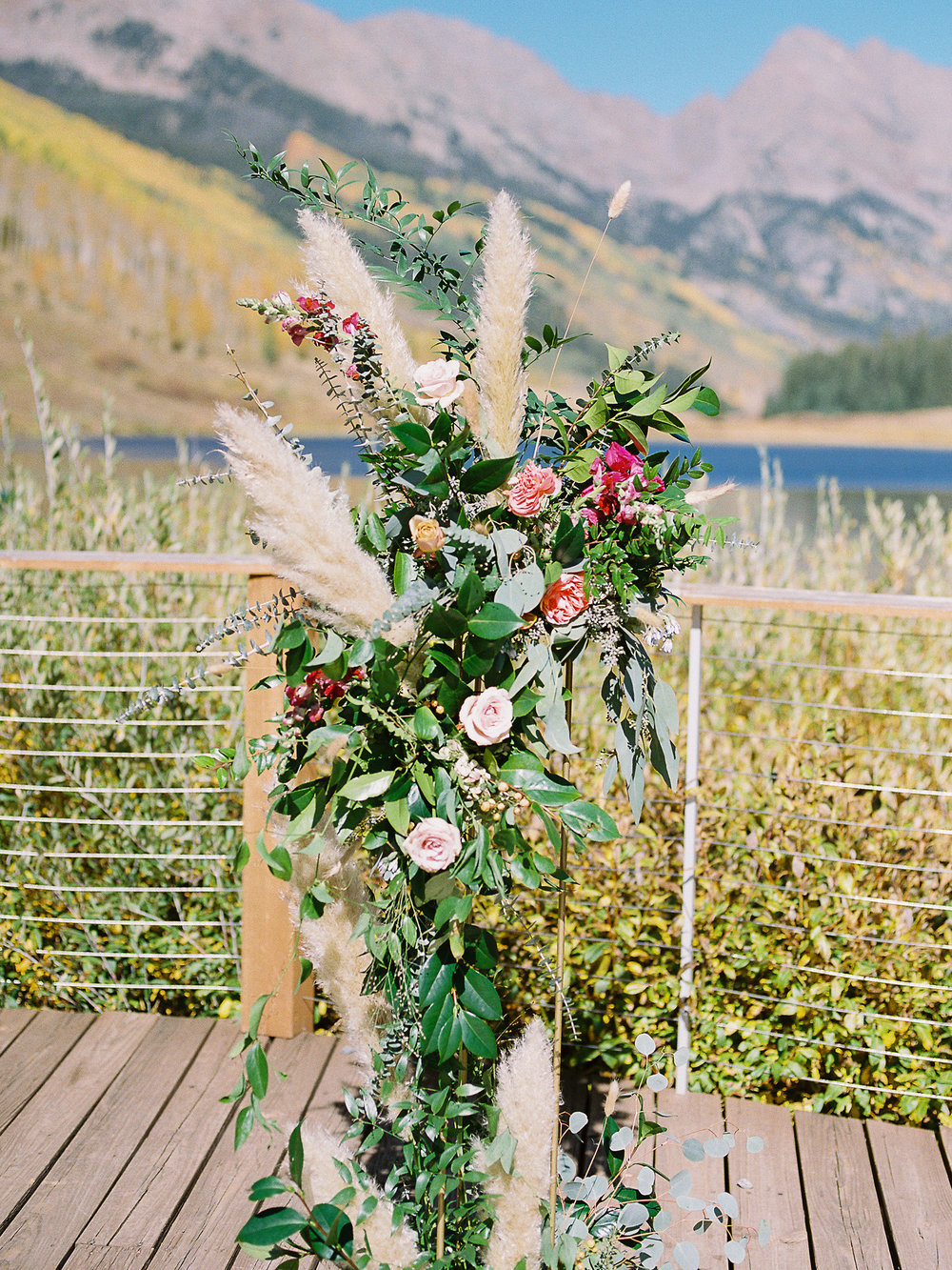 Flowers by Lace + Lilies, wedding flowers, welcome sign, reception flowers, fall wedding, fall flowers, greenery, foliage, ceremony flowers, pampas grass, altar flowers, mountain ceremony