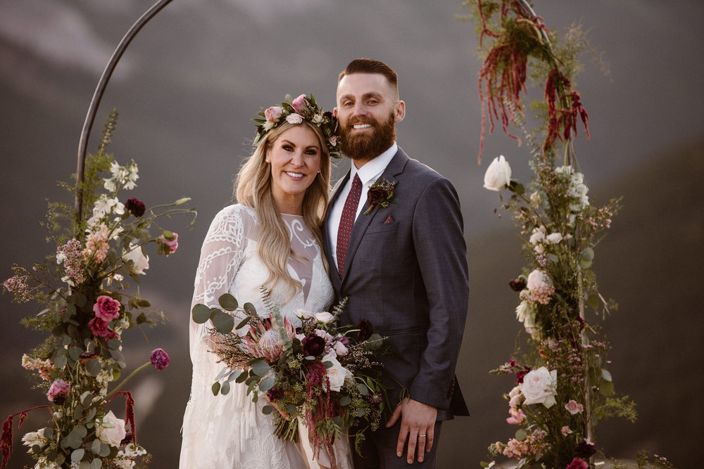 Flowers by Lace and Lilies, flower crown, arch flowers, floral installation, elopement flowers, burgundy flowers, colorado elopement, adventure instead, maddie mae