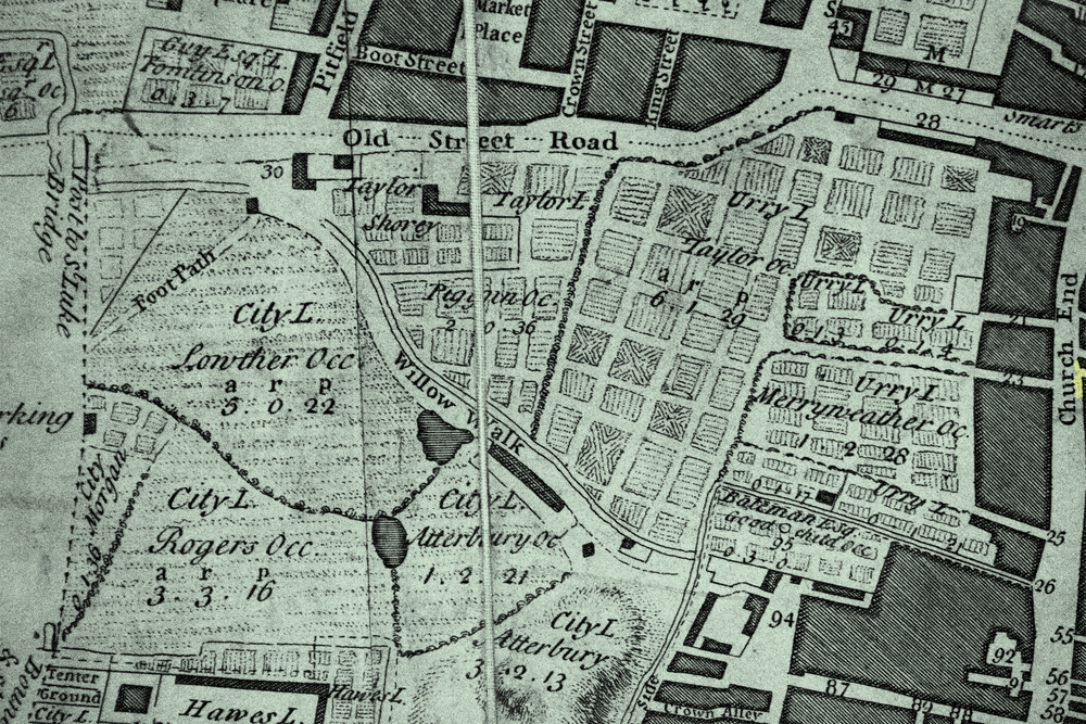 1745 detail of the Shoreditch triangle