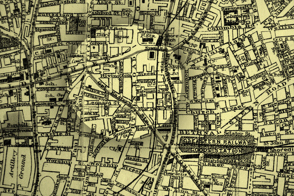 Shoreditch in 1906, when rivington street first appeared on the map