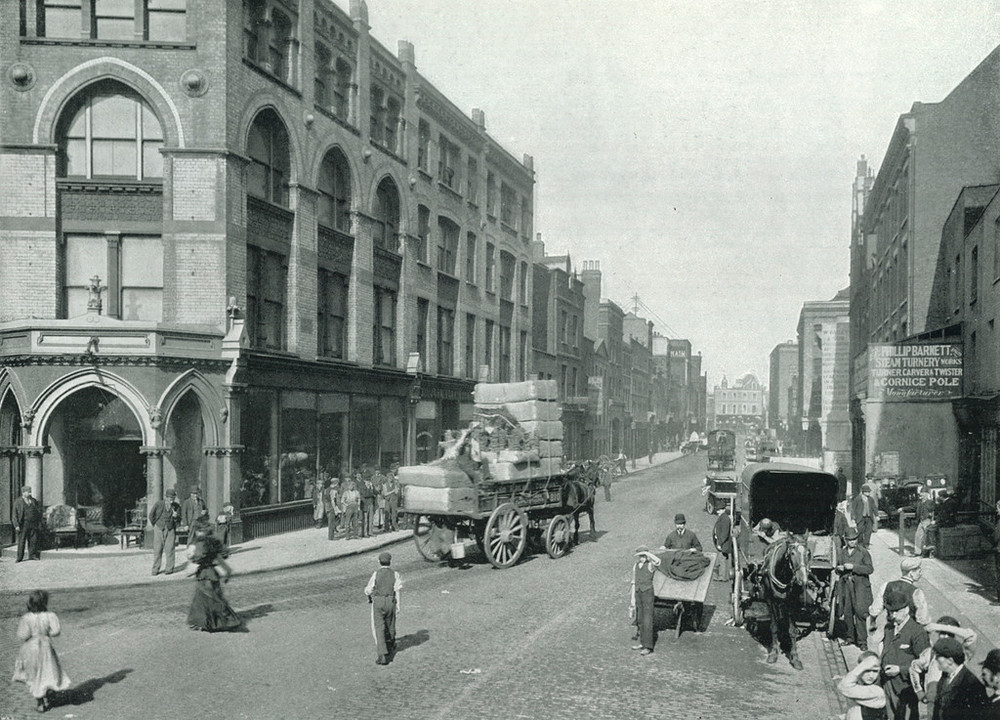 view of Curtain Road from the Corner of Great Eastern Street, taken by George Newnes in 1896 and sourced from Look and learn ( www.lookandlearn.com  )