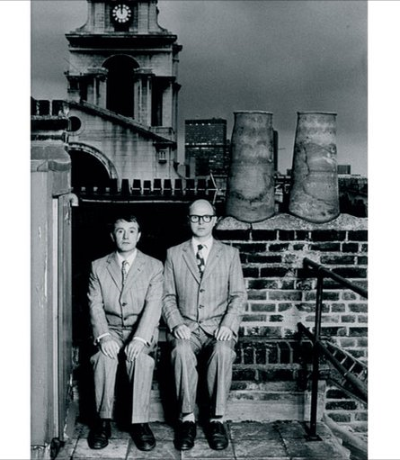 Gilbert & george above their 18th century house at Fournier Street, Spitalfields, 1986, by herbie knott