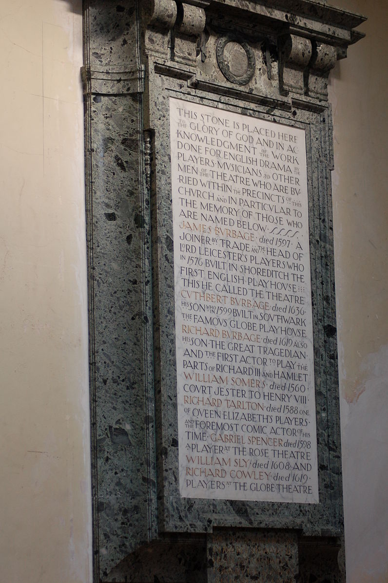 tudor actors' memorial locaed in st. leonard's, shoreditch: kevin thompson